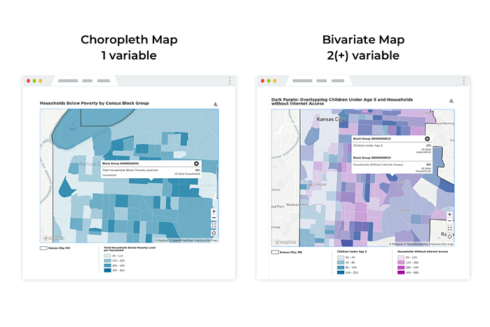 Choropleth and bivariate map examples